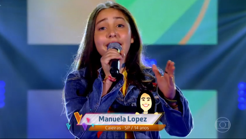Manuela Lopez, de Caieiras, mandou ver no The Voice Kids